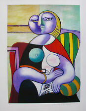 Pablo Picasso LADY IN STRIPED GREEN CHAIR Estate Signed Limited Edition Giclee