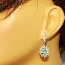 9.40 Carat Natural Aquamarine 14K Solid White Gold Diamond Earrings