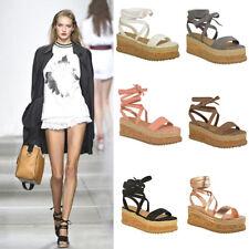 Womens Ladies Flat Wedge Espadrille Lace Tie up Sandals Platform Summer Shoes W