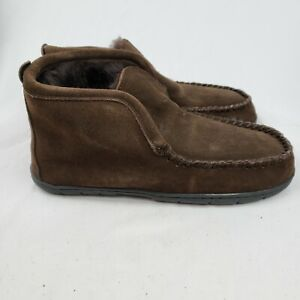 Lands End Mens Suede Leather Shearling Bootie Slippers Dark Mahogany