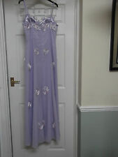 Lilac Full Length Beaded Evening Prom Bridesmaid Gown Dress with Wrap size M