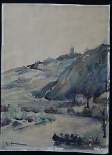 Grande aquarelle 44x32cm montagne rivière signé Old painting mountain signed