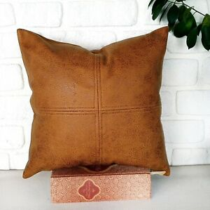 Soffron color faux leather fabric piecewise square design pillow cover-1 QTY