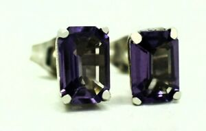 ALEXANDRITES 1.40 Cts STUD EARRINGS 14k White Gold * NEW WITH TAG