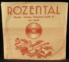 "Pochette 78 trs 25 cm 10"" Rozental Radio Beyoglu Tünelbasi Galipdede Cad 12 VG++"