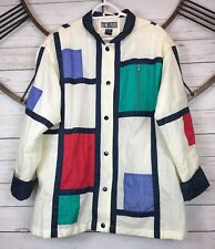 Vintage Dani Colby Nylon Swishy Jacket Ivory Color Block Nautical Womens Plus Sz
