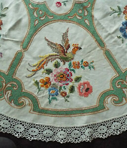 Old/vintage hand embroidered round tablecloth, pheonix + flowers with lace trim