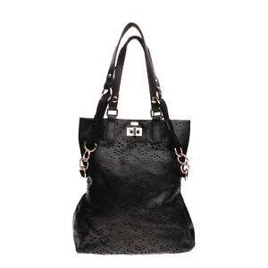 RRP €160 TSD12 RESEARCH Tote Bag Laser Cut Front Shoulder Strap Slouchy Turnlock