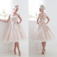 White/Ivory Tea length Wedding Dresses Cap Sleeve Bow Bridal Prom Formal Gowns