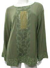 Yasuko Kurisaka Vtg Womens M L Medium Large Green Blouse Top Lagenlook Artsy EUC