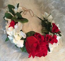 Vintage Nature Flower Rose Red White Adjustable Big Tiara Crown Headband Hair