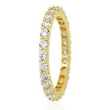 1.5Ct Round Cut Created Diamond 14k Yellow Gold Eternity Ring Size 5-8
