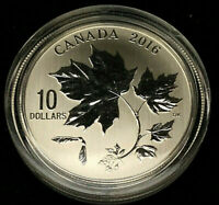 2016 Canada  $10.00 .999 Fine Silver Coin • Canadian Maple Leaves