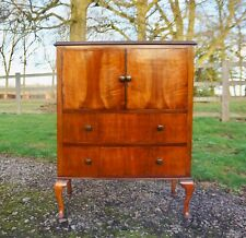 ATTRACTIVE 1930s ART DECO VINTAGE FIGURED BURR WALNUT TALLBOY CHEST OF DRAWERS