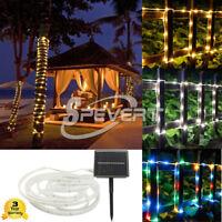 5M 100 LED Solar Rope Tubo Luz Tira Fairy Light Navidad Boda Party Impermeable