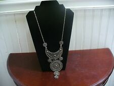 "Vintage Textured Silvertone Metal Filagree Qtr Moon & Circle 21.5"" Bib Necklace"