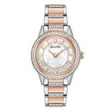 Ladies' Bulova Crystal Mother of Pearl Turnstyle Watch 98L246