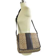 03e3cba4df9e NWT Coach Men s Shoulder Bag 71102 Khkai Brown Heritage Stripe