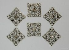 #1296 ANTIQUED GOLD OPEN FILIGREE SQUARE 4 WAY CONNECTOR - 6 Pc Lot