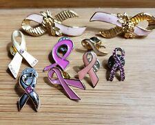 9 Breast Cancer Awareness Pink Ribbon Tack Pins Most Vintage Avon Enamel