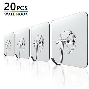 20Pcs 6x6cm Transparent Strong Self Adhesive Door Wall Hangers Hooks Suction Cup