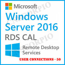 Win Server 2016 Remote Desktop Services User connections 50 RDS CAL Product Key