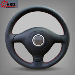 Hand Stitched Sew Leather Steering Wheel Cover For Volkswagen Golf MK4 Passat B5