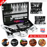 BBQ Barbecue Tool Set Grill Grilling Stainless Steel Aluminum Box Portable Pro