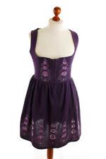 % Sale % Vintage 70er Bodice Dirndl Lila Embroidered Oktoberfest Hemara