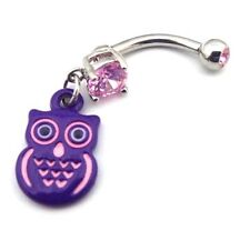 Purple Owl Charm Dangle Belly Button Ring Pink CZ Gems Surgical Steel 316L 14g