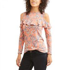 Como Blu Women's French Terry Ruffle Cold Shoulder Sweatshirt Size XL --A6--