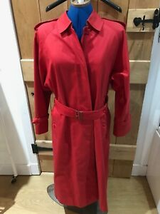 Ladies Burberry Red Ex,  Long Trench Coat - Size 12