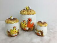 Set 3 Sears Roebuck & Co Vintage 1976 Chicken Egg Nest Ceramic Sugar Cookie Jar