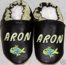 monogrammed  soft soled leather BABY crib SHOES w fish