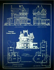 "Victorian House 1890 old fashioned blue Blueprint Plans 19""x24""  (070)"