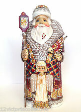 Russian Santa with an Angel and Bird Wooden Hand Carved Hand Painted Signed