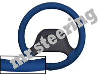FOR LAND ROVER DEFENDER 1990+ REAL BLUE ITALIAN LEATHER STEERING WHEEL COVER NEW