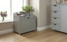 Bathroom Ottoman Storage Chest Towel Cupboard Wooden Cabinet Tong & Groove Grey