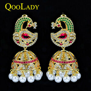 Vintage Bohemia Yellow Gold CZ Big Statement Ethnic Pearl Drop Earring for Women