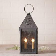 Country new HOSPITALITY blackened punched tin table lantern light / nice