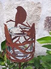 Edelrost Windlicht Vogel Glas Herbst Dekoration Garten Topfstecker Beet Stab