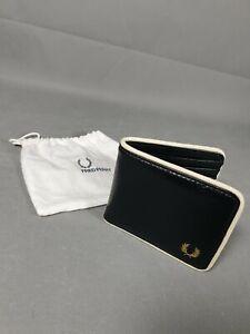 GENUINE Fred Perry Men Tonal Classic PU Billfold Wallet Black & Storage Bag