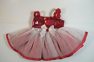 Build A Bear Workshop - Pink sequined Ballet dress with white bow & tulle skirt