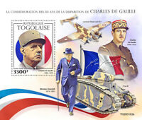 Togo Military Stamps 2020 MNH WW2 WWII Charles De Gaulle Churchill Tanks 1v S/S