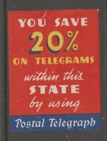 USA Revenue Fiscal or Cinderella stamp 6-7-20 gum/hinge remnant Telegraph