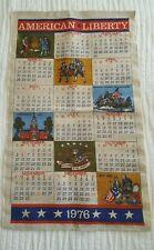 Vintage American Liberty Linen Wall Calendar 1976/ Memorabilia/ Craft Material