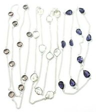 """Silver Plated 3 Pcs Chain 32""""- 33"""" Biwa Mother Of Pearl Faceted Multi Quartz"""