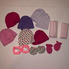 Baby Girl Newborn Hat Glove Mittens Lot Car Seat Shoulder Pad Pink Purple Infant