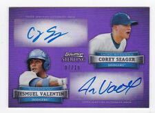 Corey Seager /Jesmuel Valentin  2012 Bowman Sterling Purple Dual Auto SP 7/10