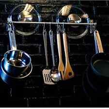 Stainless Steel Gourmet Kitchen 23.25 Inch Wall Rail Pot Pan Utensil Lid Rack 10